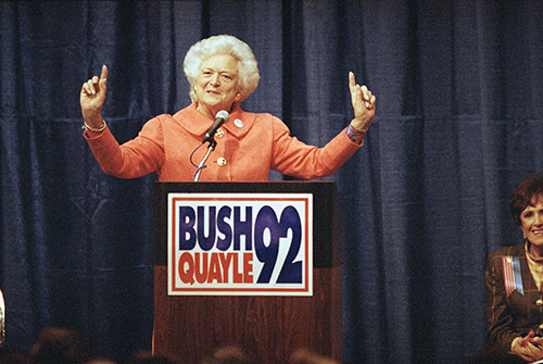 <div class='meta'><div class='origin-logo' data-origin='AP'></div><span class='caption-text' data-credit='AP'>First lady Barbara Bush is pictured campaigning for her husband, 1992.</span></div>