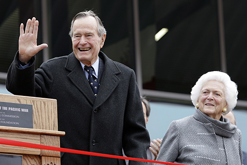 <div class='meta'><div class='origin-logo' data-origin='AP'></div><span class='caption-text' data-credit='AP Photo/Eric Gay, File'>Former President George H.W. Bush and former first lady Barbara Bush arrive for a ceremony to dedicate an expanded gallery at the National Museum of the Pacific War in 2002.</span></div>