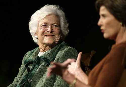<div class='meta'><div class='origin-logo' data-origin='AP'></div><span class='caption-text' data-credit='AP Photo/David J. Phillip'>Former first ladies Barbara Bush, left, and Laura Bush, take part in the Enduring Legacies of America's First Ladies conference Thursday, Nov. 15, 2012, in Austin, Texas.</span></div>