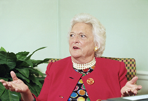 <div class='meta'><div class='origin-logo' data-origin='AP'></div><span class='caption-text' data-credit='AP Photo/Marty Lederhandler'>Former first lady Barbara Bush responds during an AP interview in her suite on Sept. 13, 1994 at the Waldorf Astoria Hotel in New York.</span></div>