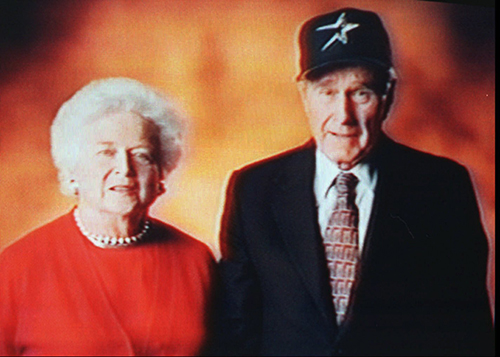 <div class='meta'><div class='origin-logo' data-origin='AP'></div><span class='caption-text' data-credit='AP Photo/Houston Astros'>Former President George Bush and wife Barbara are shown in this image from a television monitor Monday, Jan. 22, 1996, in a campaign to sell season tickets for the Houston Astros.</span></div>