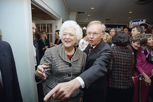 <div class='meta'><div class='origin-logo' data-origin='AP'></div><span class='caption-text' data-credit='AP Photo/John Bazemore'>First Lady Barbara Bush and Republican senatorial candidate Paul Coverdell shake hands with supporters who gathered to hear Mrs. Bush speak, Friday, Nov. 20, 1992, Roswell, Ga.</span></div>