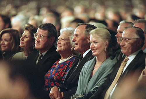 <div class='meta'><div class='origin-logo' data-origin='AP'></div><span class='caption-text' data-credit='AP Photo/Mark J. Terrill'>President George Bush and his wife Barbara sit among 56,000 people to see opera stars perform during  'Encore!'  The Three Tenors' in 1998.</span></div>