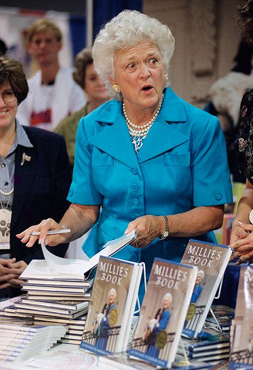 <div class='meta'><div class='origin-logo' data-origin='AP'></div><span class='caption-text' data-credit='AP Photo/Richard Drew'>First Lady Barbara Bush signs copies of &#34;Millie's Book&#34; as the Republican National Convention moved into its second day, Tuesday, Aug. 18, 1992, Houston, Tex.</span></div>