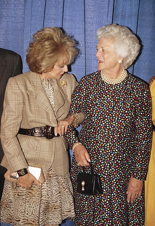 <div class='meta'><div class='origin-logo' data-origin='AP'></div><span class='caption-text' data-credit='AP Photo/Luiz C. Ribeiro'>Former First Lady Barbara Bush chats with news anchorwoman Barbara Walters during a photo session prior to an Evening of Readings on Monday, May 17, 1993 at Lincoln Center.</span></div>