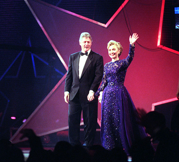 "<div class=""meta image-caption""><div class=""origin-logo origin-image none""><span>none</span></div><span class=""caption-text"">President Clinton and Hillary Rodham Clinton appear at the MTV Ball at the Washington Convention Center Jan. 20, 1993. (Shayna Brennan, files/AP Photo)</span></div>"