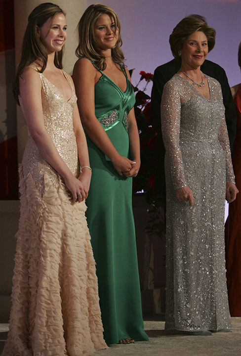 "<div class=""meta image-caption""><div class=""origin-logo origin-image none""><span>none</span></div><span class=""caption-text"">First lady Laura Bush, right, appears with her daughters Jenna, center, and Barbara, at The Constitution Ball at the Washington Hilton, in Washington, Thursday, Jan. 20, 2005. (Pablo Martinez Monsivais/AP Photo)</span></div>"