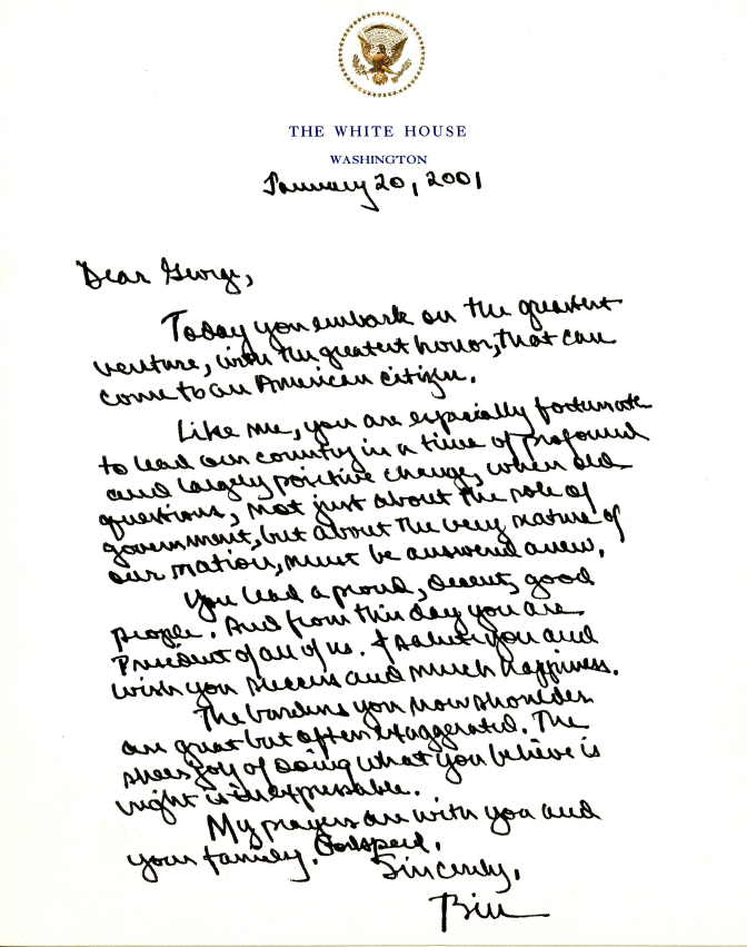 Past presidential letters to incoming commander in chief