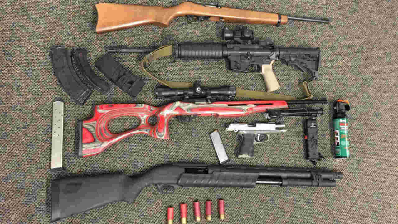 A cache of guns found in a convicted felon's home in Santa Rosa, Calif. is seen in this undated image.