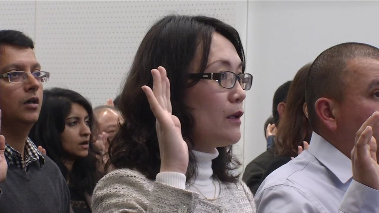 A group of 50 immigrants became citizens during a ceremony in San Jose, Calif. on Thursday, January 19, 2017.