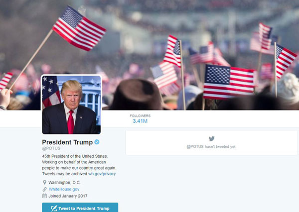 "<div class=""meta image-caption""><div class=""origin-logo origin-image none""><span>none</span></div><span class=""caption-text"">A screenshot shows the new look to the POTUS Twitter page. (Twitter/POTUS)</span></div>"