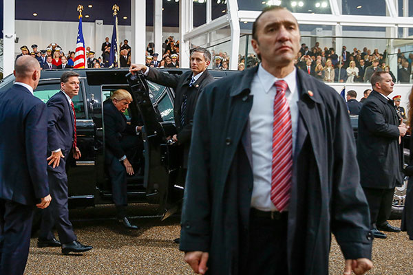 "<div class=""meta image-caption""><div class=""origin-logo origin-image none""><span>none</span></div><span class=""caption-text"">President Donald Trump steps out of his limousine during his inaugural parade on Pennsylvania Avenue outside the White House in Washington, Friday, Jan. 20, 2017. (Andrew Harnik/AP Photo)</span></div>"