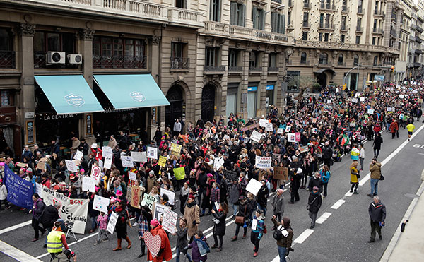 "<div class=""meta image-caption""><div class=""origin-logo origin-image none""><span>none</span></div><span class=""caption-text"">People take part during the Women's March rally in Barcelona, Spain, Saturday, Jan. 21, 2017. (Manu Fernandez/AP Photo)</span></div>"