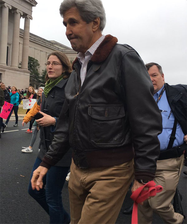 <div class='meta'><div class='origin-logo' data-origin='none'></div><span class='caption-text' data-credit='Amierjeski/Twitter'>Former Secretary of State John Kerry attends the Women's March in Washington, D.C.</span></div>