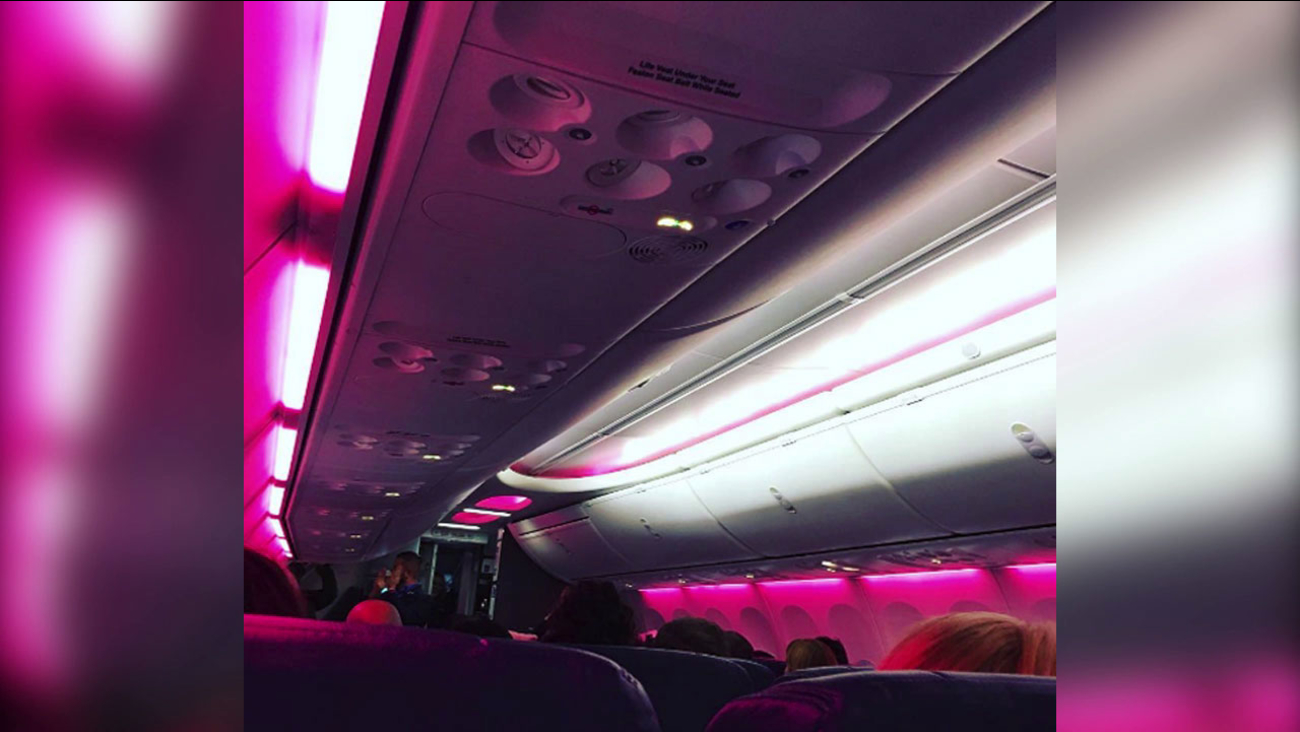 Instagram user Krystal Parrish shared a photo of the cabin lights inside her Southwest Flight from Chicago to Washington D.C.