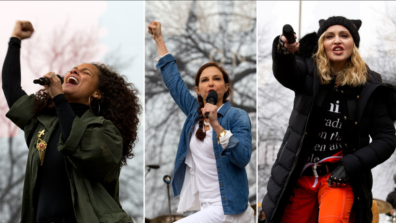 Alicia Keys, Ashley Judd and Madonna are shown at the Women's March on Washington on Saturday, Jan. 21, 2017.