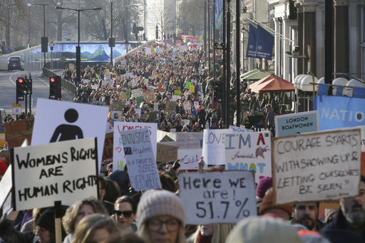<div class='meta'><div class='origin-logo' data-origin='AP'></div><span class='caption-text' data-credit='AP'>Demonstrators take part in the Women's March on London, following the Inauguration of U.S. President Donald Trump, in London, Saturday Jan. 21, 2016. (AP Photo/Tim Ireland)</span></div>