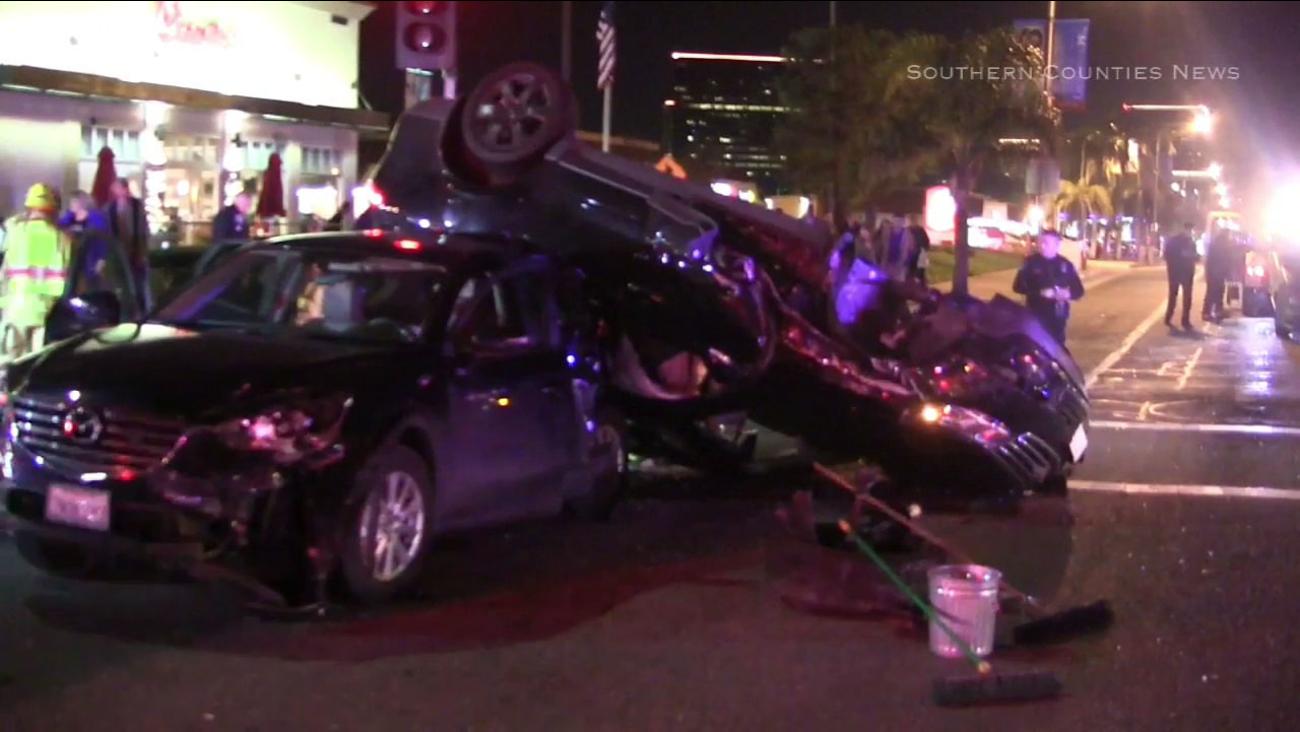 Five people were injured in a violent car crash in Santa Ana Saturday night.