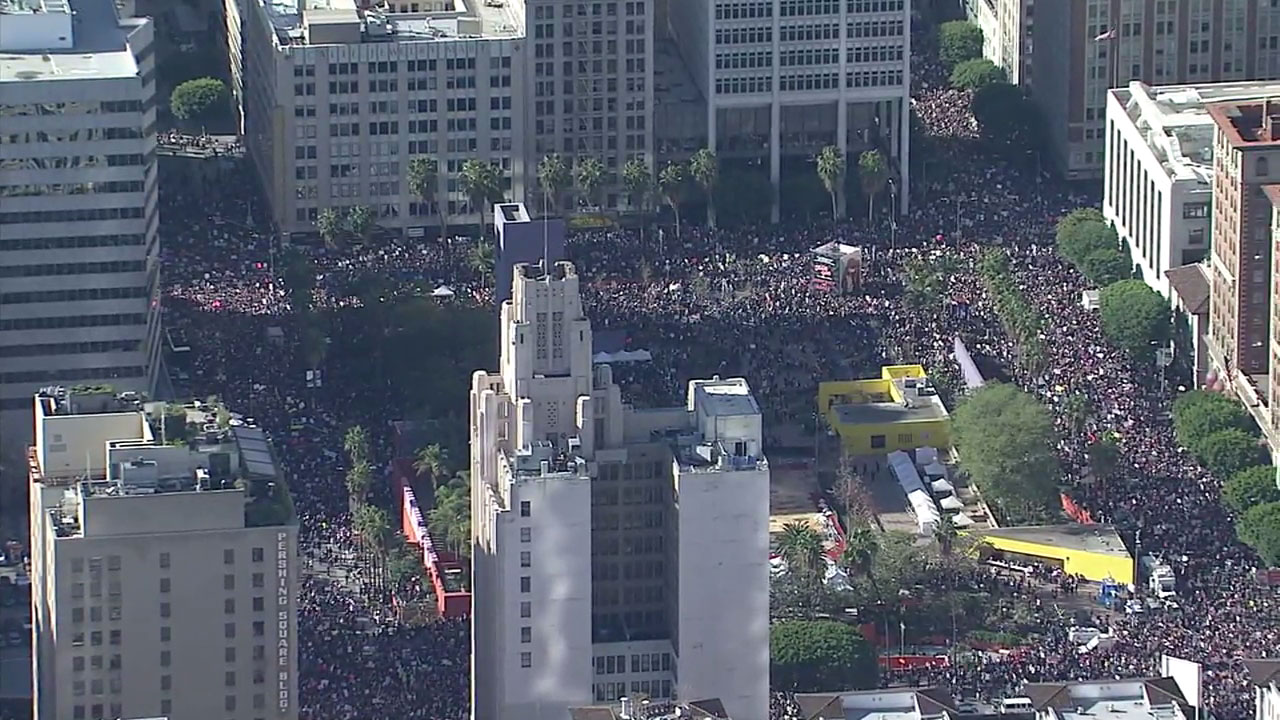 Footage from AIR7 HD shows a massive crowd of people in downtown Los Angeles for the Women's March L.A. on Saturday, Jan. 21, 2017.