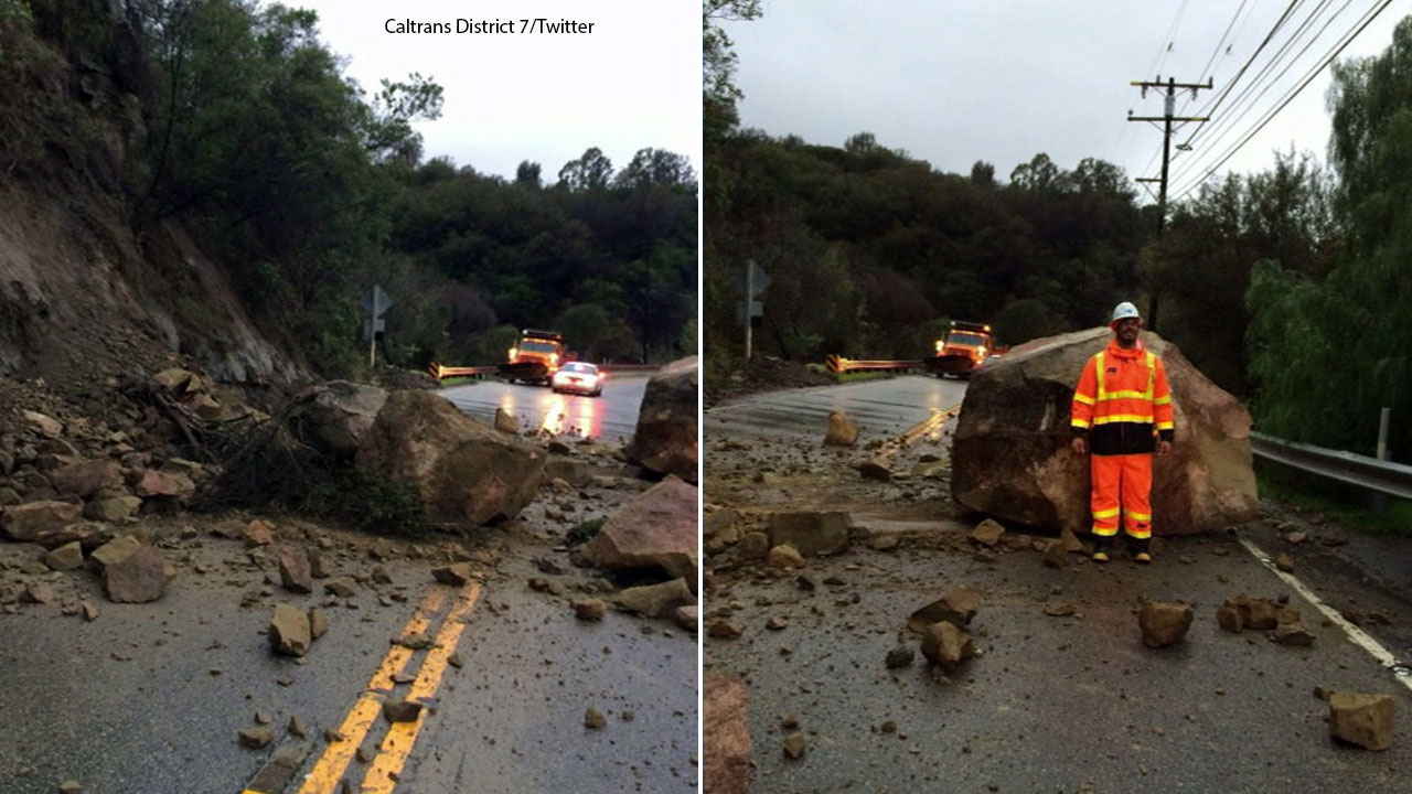 Images from Caltrans District 7 shows giant rocks blocking Topanga Canyon Boulevard on Sunday, Jan. 22, 2017.