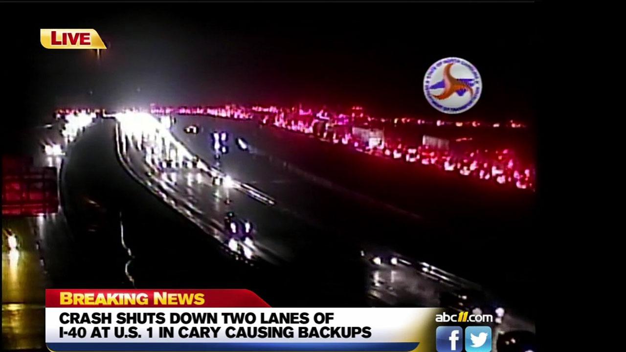 DOT camera image of traffic backups along Interstate 40