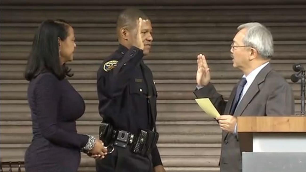 San Francisco Mayor Ed Lee swears in the city's new police chief Bill Scott at City Hall on Monday, January 23, 2017.