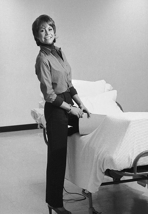 <div class='meta'><div class='origin-logo' data-origin='AP'></div><span class='caption-text' data-credit='AP Photo'>Actress Mary Tyler Moore sits on a prop hospital bed in New York, Monday, Jan. 21, 1980.</span></div>