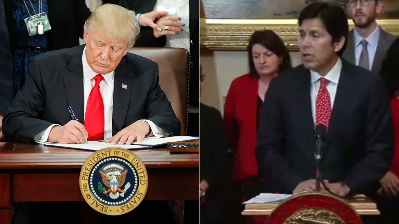 President Donald Trump signs executive orders cracking down on illegal immigration, while California Senate President pro tempore Kevin de Leon announces plans to fight him.