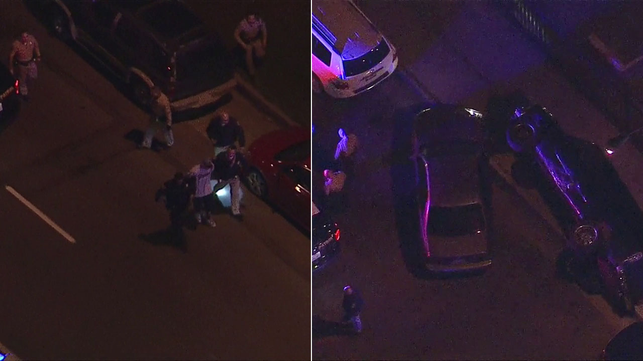 A driver was taken into custody after a chase that ended when he smashed into a parked car in East Los Angeles.