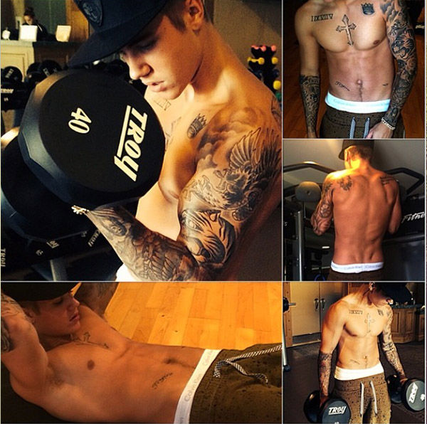 "<div class=""meta image-caption""><div class=""origin-logo origin-image ""><span></span></div><span class=""caption-text"">Bieber shows off his body at the gym. (Instagram.com/justinbieber)</span></div>"