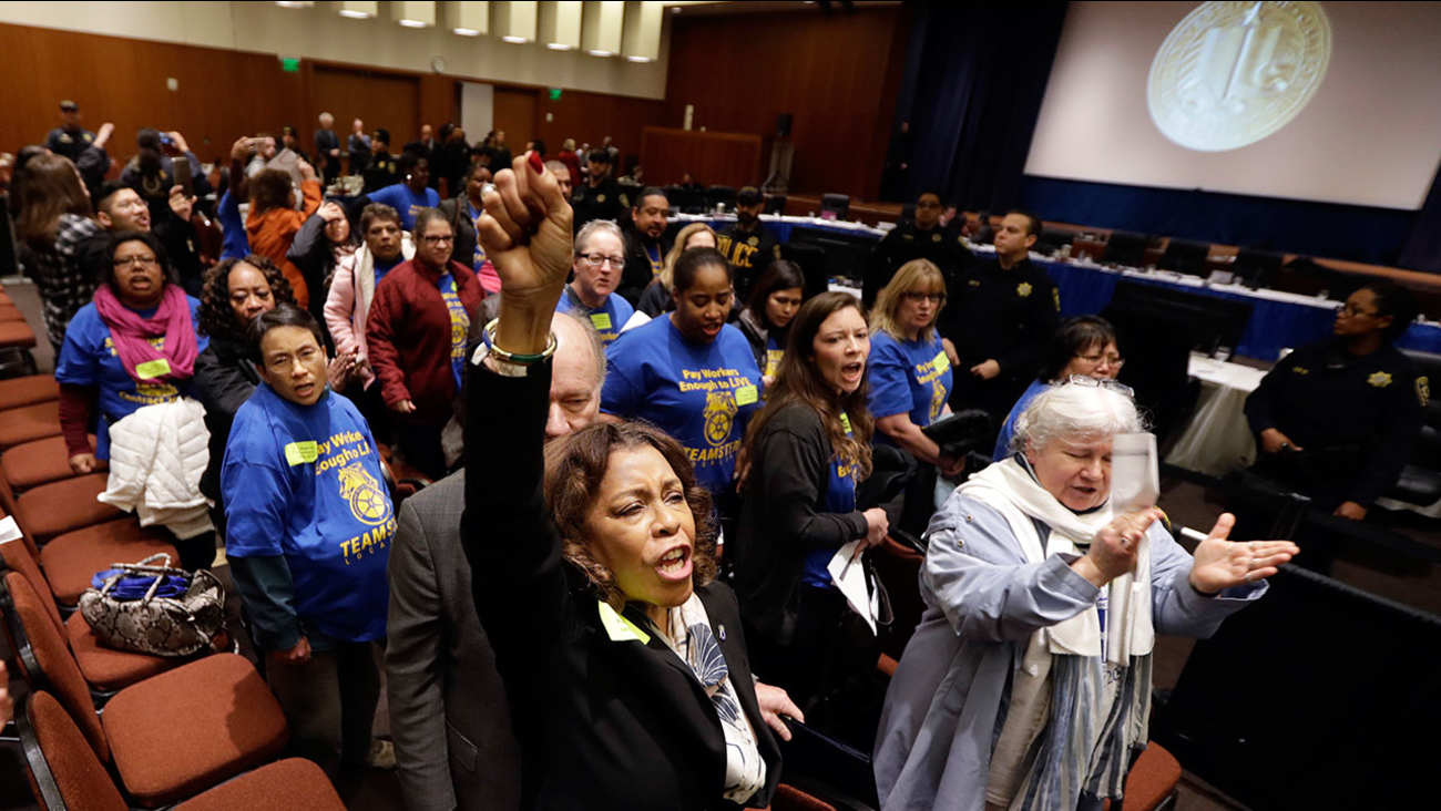 Members of the Teamsters Local 210, who are employees of the University of California protest during a regents meeting Wednesday, Jan. 25, 2017, in San Francisco.