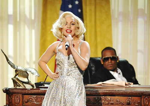 "<div class=""meta image-caption""><div class=""origin-logo origin-image ap""><span>AP</span></div><span class=""caption-text"">R. Kelly joined Gaga on her sultry 2013 single 'Do What U Want.' What do we want? A re-imagination of their fabulous JFK and Marilyn Monroe-inspired performance. (John Shearer/Invision/AP, file)</span></div>"