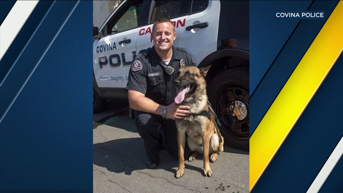 "An undated photo of Covina PD Officer Ryan Rasmussen and his K-9 ""Jarno."""