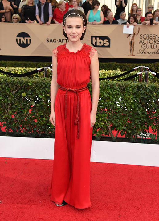 "<div class=""meta image-caption""><div class=""origin-logo origin-image none""><span>none</span></div><span class=""caption-text"">Millie Bobby Brown arrives at the 23rd annual Screen Actors Guild Awards at the Shrine Auditorium & Expo Hall on Sunday, Jan. 29, 2017, in Los Angeles. (Jordan Strauss/Invision/AP)</span></div>"