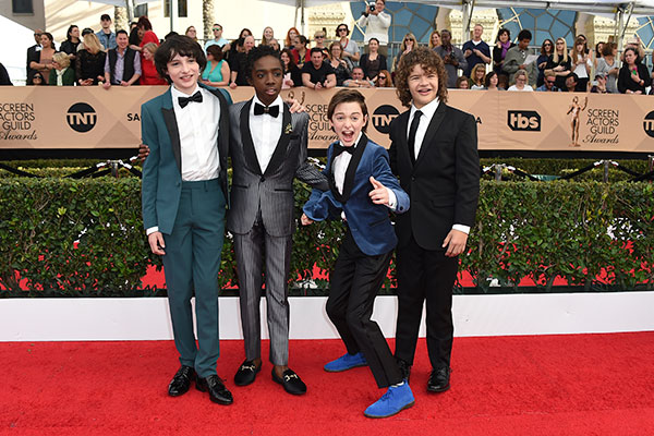 "<div class=""meta image-caption""><div class=""origin-logo origin-image none""><span>none</span></div><span class=""caption-text"">Finn Wolfhard, from left, Caleb McLaughlin, Noah Schnapp and Gaten Matarazzo, of ''Stranger Things,'' arrive. (Jordan Strauss/Invision/AP)</span></div>"