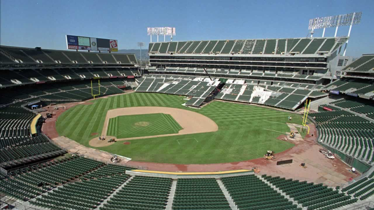 The Oakland Coliseum in transition from baseball to football field configuration.