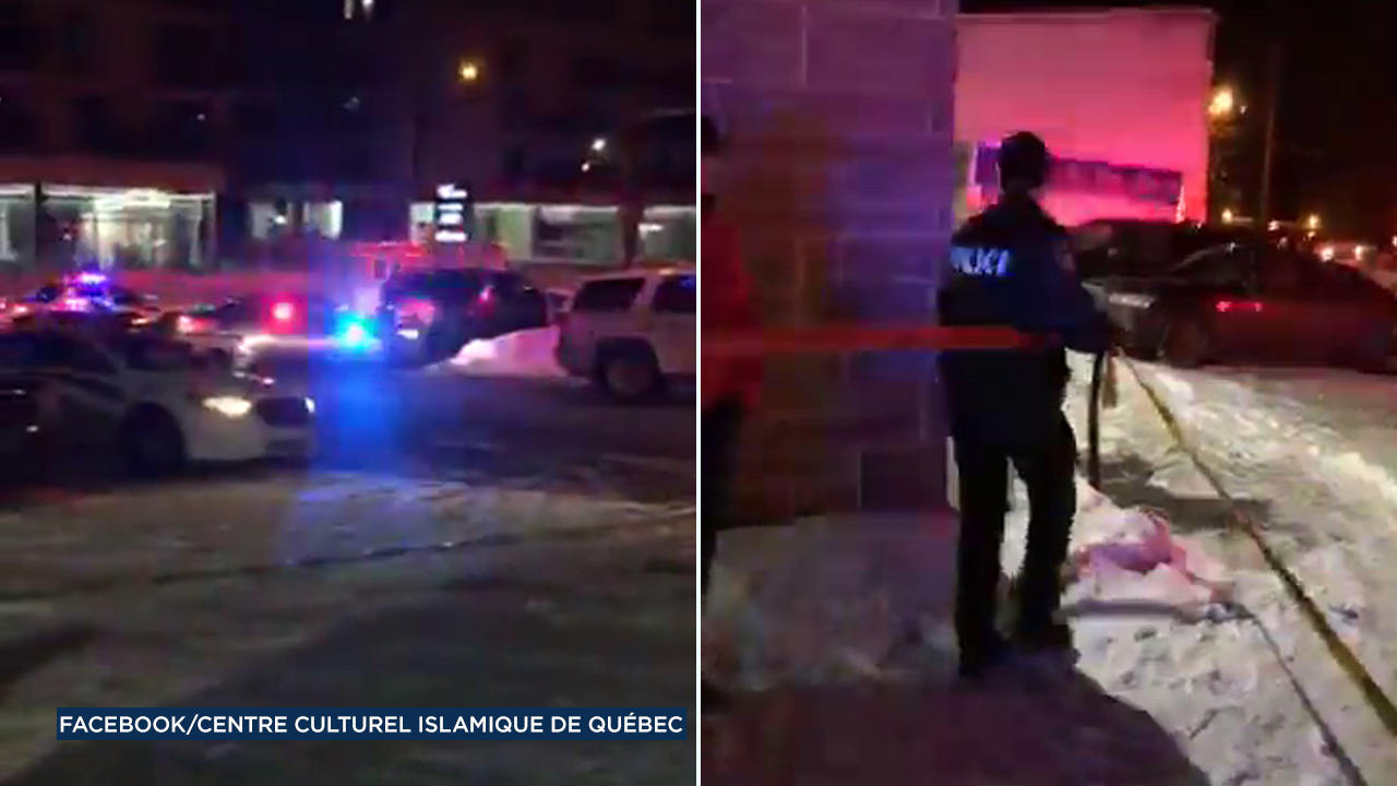 Video taken shows the scene of a fatal shooting at a mosque in Quebec City, Canada, on Sunday, Jan. 29, 2017.