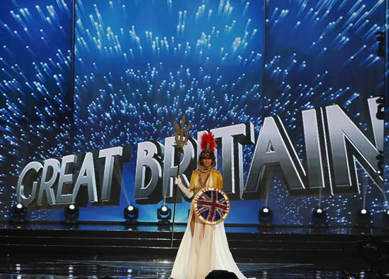 """<div class=""""meta image-caption""""><div class=""""origin-logo origin-image ap""""><span>AP</span></div><span class=""""caption-text"""">Miss Universe contestant Jamie-Lee Faulkner of Great Britain parades during the preliminary competition in the Miss Universe beauty pageant. (AP Photo/Bullit Marquez) (AP)</span></div>"""