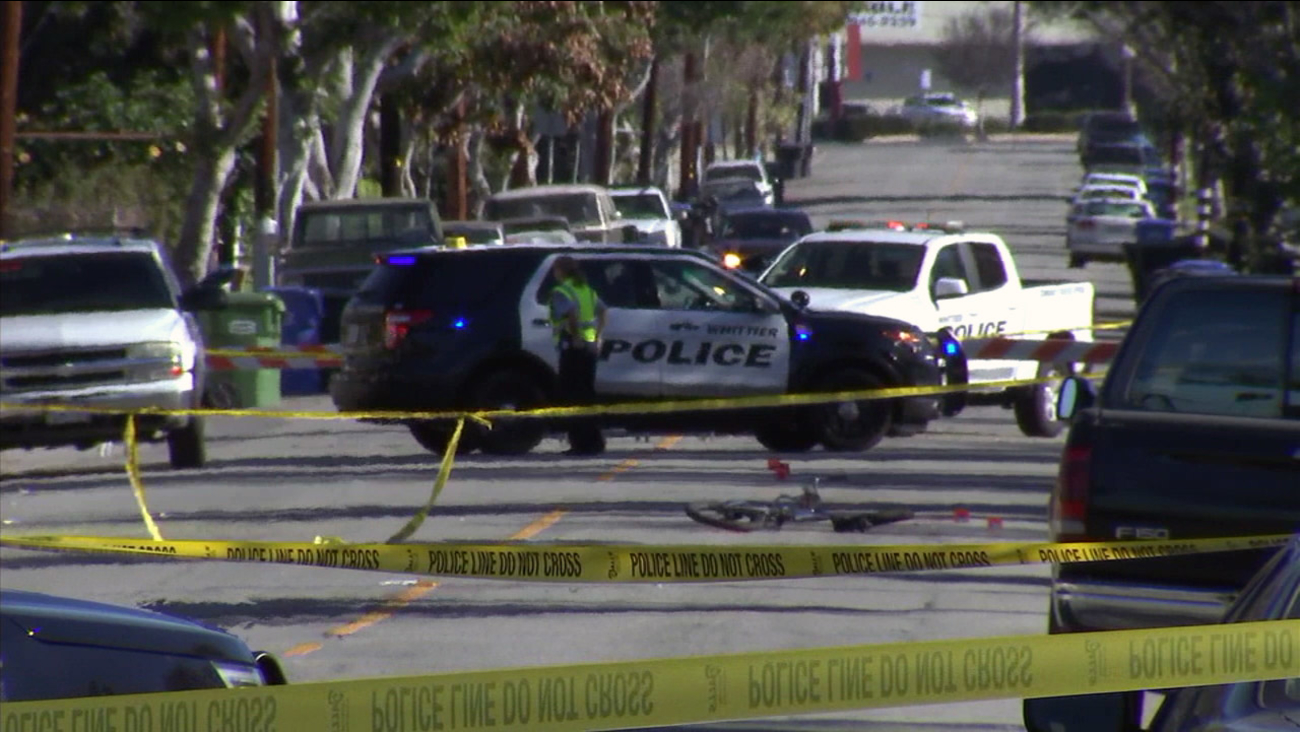 Police investigate a fatal hit and run in the 9100 block of Calmada Avenue in Whittier on Monday, Jan. 30, 2017.
