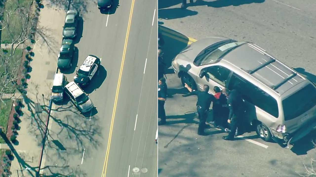 A robbery suspect was taken into custody following a successful PIT maneuver by LAPD at the end of a chase in Chinatown on Tuesday, Jan. 31, 2017.