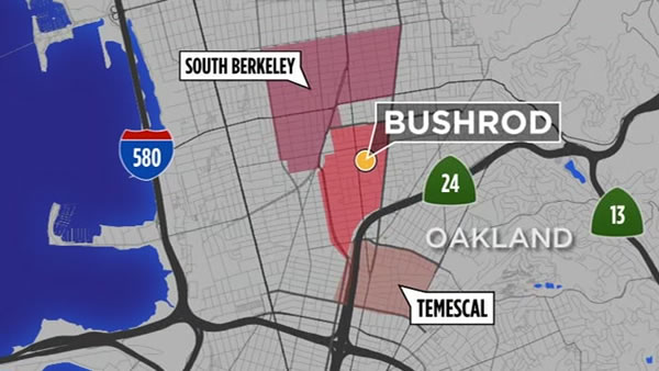 This map shows Oakland, Calif.'s Bushrod neighborhood.