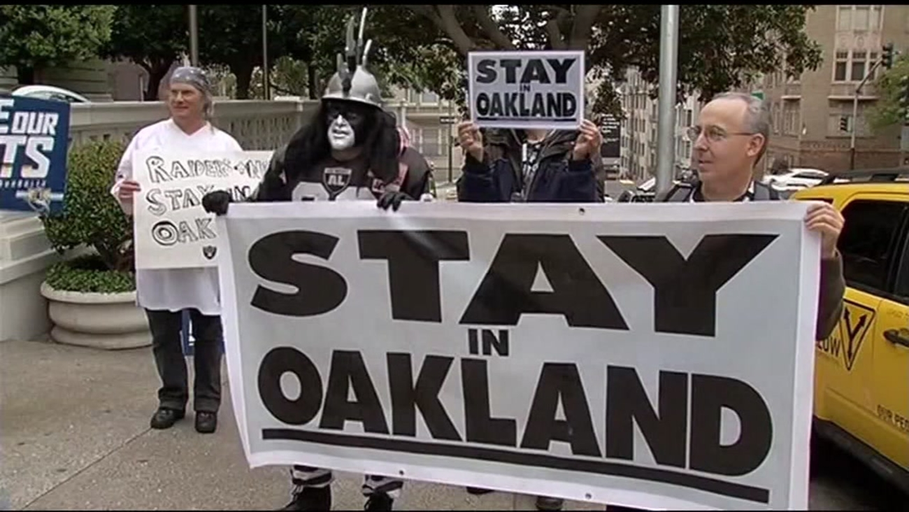 This is an undated image of Oakland Raiders supporters protesting the team's proposed move to Las Vegas.