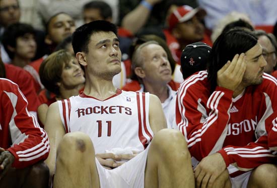 "<div class=""meta image-caption""><div class=""origin-logo origin-image ktrk""><span>KTRK</span></div><span class=""caption-text"">Houston Rockets center Yao Ming, of China, sits on the bench  during the fourth quarter of Game 3 of a second-round Western Conference playoff basketball game. (AP Photo/Eric Gay) (ASSOCIATED PRESS)</span></div>"
