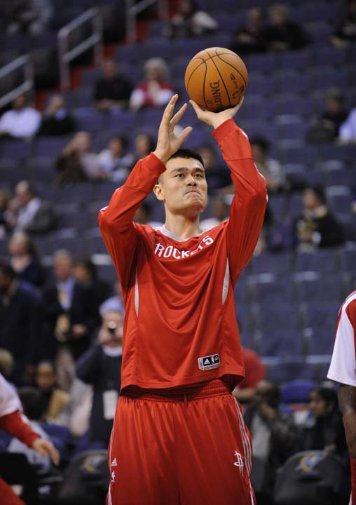 "<div class=""meta image-caption""><div class=""origin-logo origin-image ktrk""><span>KTRK</span></div><span class=""caption-text"">Houston Rockets center Yao Ming, of China, warms up before an NBA basketball game against the Washington Wizards, Wednesday, Nov. 10, 2010, in Washington. (AP Photo/Nick Wass) (AP)</span></div>"