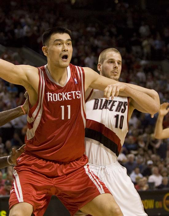 "<div class=""meta image-caption""><div class=""origin-logo origin-image ktrk""><span>KTRK</span></div><span class=""caption-text"">This April 21, 2009, file photo shows Rockets center Yao Ming, left, from China, battling for position with Portland Trail Blazers center Joel Przybilla. (AP Photo/Don Ryan, File) (AP)</span></div>"