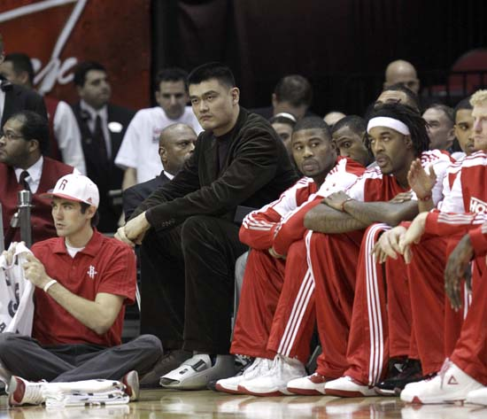 "<div class=""meta image-caption""><div class=""origin-logo origin-image ktrk""><span>KTRK</span></div><span class=""caption-text"">Houston Rockets' Yao Ming, left, of China, sits on the bench during the first quarter of an NBA basketball game against the Washington Wizards. (AP Photo/David J. Phillip) (AP)</span></div>"