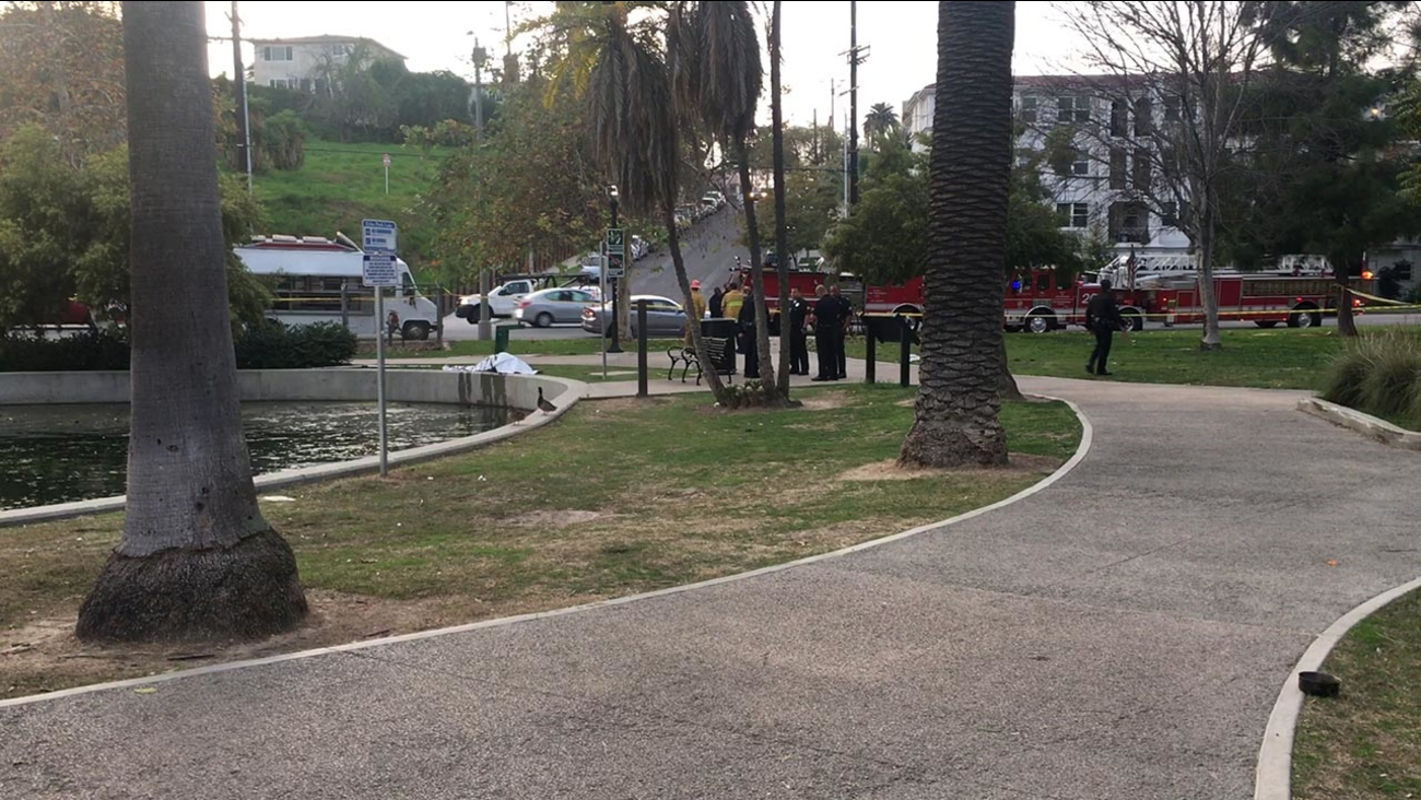 Los Angeles police were investigating after a body was discovered at Echo Park Lake on Wednesday, Feb. 1, 2017.