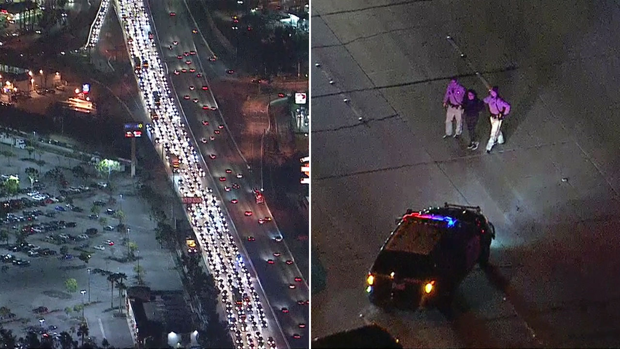 A suspect leading police on a chase going eastbound on the westbound 10 Freeway crashed into a California Highway Patrol cruiser, causing a traffic jam on Wednesday, Feb. 1, 2017.