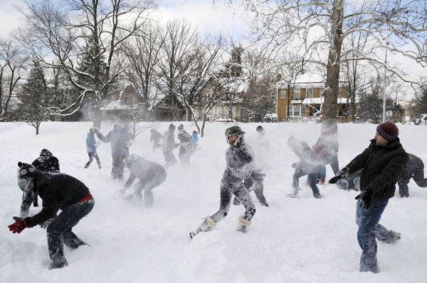 <div class='meta'><div class='origin-logo' data-origin='none'></div><span class='caption-text' data-credit='(AP Photo/Indiana Daily Student, James Brosher)'>Students battle in a snowball fight Wednesday, Jan. 28, 2009, in Dunn Meadow on the Indiana University campus in Bloomington, Ind.</span></div>