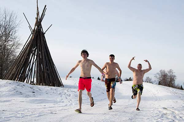 <div class='meta'><div class='origin-logo' data-origin='none'></div><span class='caption-text' data-credit='(AP Photo/Vitnija Saldava)'>Participants run during a European Sauna marathon in Estonian Winter Capita in Otepaa, Estonia, Saturday, Feb. 6, 2016.</span></div>